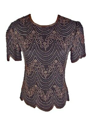 PAPELL BOUTIQUE EVENING womens S Black Silk Beaded Top
