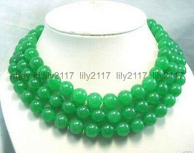 """Genuine 8MM Natural Green Jade Chalcedony Round Gemstone Beads Long Necklace 50"""""""