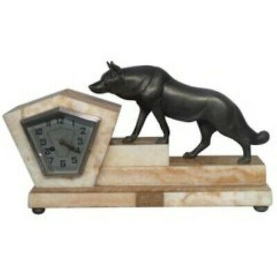 SUPERB ART DECO CLOCK with animal Sculpture Attributed Rochard c 1925 WORKING
