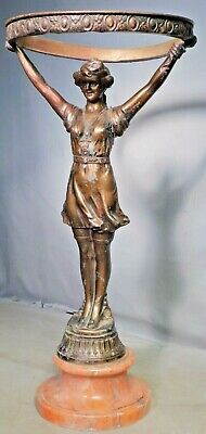 Antique AS IS Figural Metal Lamp Art Nouveau BAWDY Girl Spelter