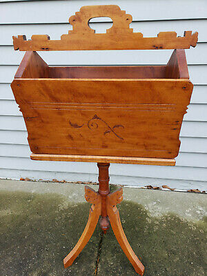 UNIQUE WALNUT Victorian EASTLAKE Style SEWING CADDY / MUSIC STAND ~ PICK-UP ONLY