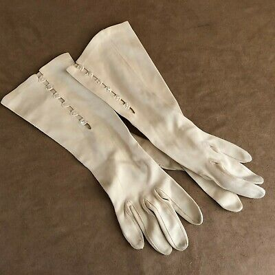 """Vintage 12"""" evening Gloves pearl buttons long wedding womens off white ivory"""