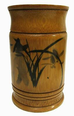 Japanese Bamboo Sumi-e Calligraphy Brush Pot Container Vase 11 x 6.5 cm