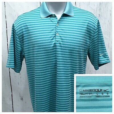 Nike Golf Dri-Fit L Large Teal Turquoise Short Sleeve Polo Shirt Men's 3 Button