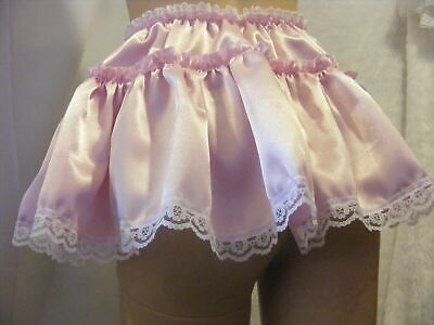 Sissy Adult Baby Sexy Fancy Dress Pink Satin Micro Mini Frilly Skirt &