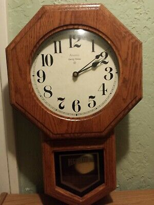 "Ansonia  Battery Operated Regulator Clock 21"" Model 1175 - Needs Repair"