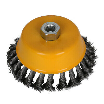 """5"""" Steel Knotted Twisted Wire Cup Brush for Deburring Paint Rust Removal M14X2"""