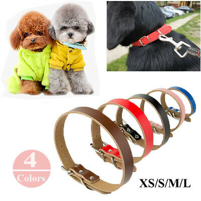 Adjustable Dog Pet Cat Puppy Strong Real Leather Collar Necklace Four Sizes UK
