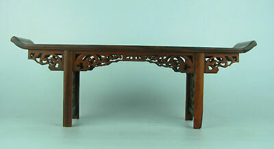 Chinese Red suanzhi wood rosewood carved mini table display stand shelf 11.2