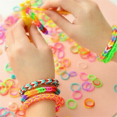 Rainbow Rubber Bands Refill Set Bracelet Necklace Maker Kit Small Crochet Clip