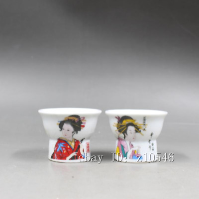 """2.28""""Chinese antiques Republic of China Pastel Pair Character pattern wine glass"""
