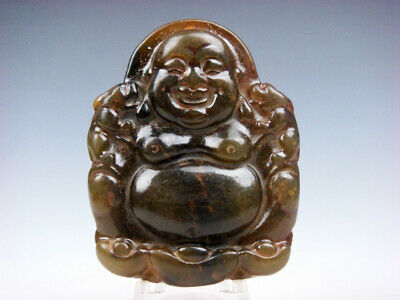Old Nephrite Jade Carved Pendant Laughing Buddha & 2 Foo Dog Lions #12231914