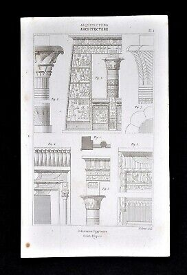 1859 Didot Antique Print Egyptian Architecture Papyrus Column Capital Egypt