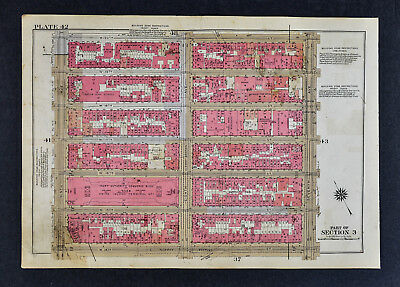 1934 Bromley New York City Map 7th-9th Avenue 14th- 20th Street Union Terminal