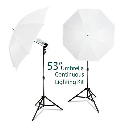 "53"" White Umbrella Reflector for Photography Studio Continuous Light Kit"