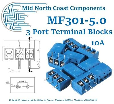 PCB 3 Port Terminal Block Connector Blue 10A 300VAC 14-22AWG 5mm Pitch Linkable