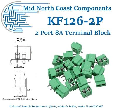PCB 2 Port Terminal Block Connector Green 8A 250V 14-22AWG 5mm Pitch Link-able