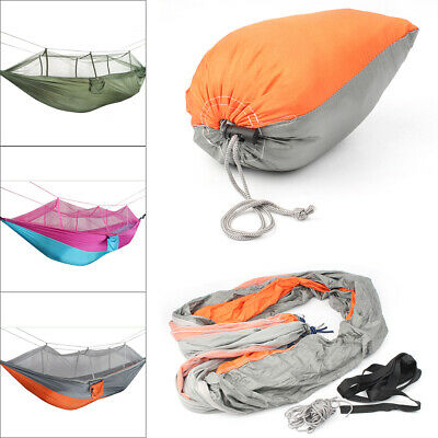 Double Hammock w/Mosquito Net Netting Hanging Bed Outdoor Camping Portable Sport