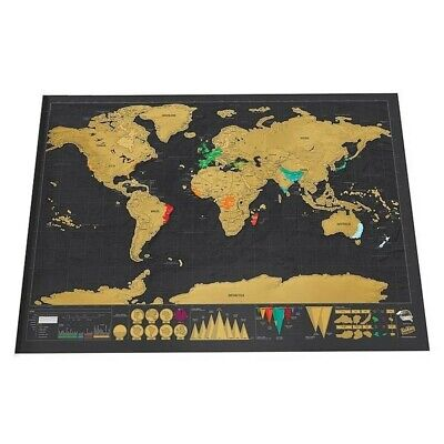 Map World Scratch Travel Deluxe Erase Off Black Personalized 1pcs Wall Home Room