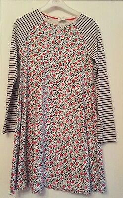 Mini Boden Cotton Jersey Floral/striped Dress.11-12 Years. Immaculate.