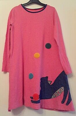 Mini Boden Cotton Jersey Dress With Applique Cat. 11-12 Years. Immaculate.