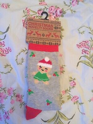 Cotton Rich Girls Christmas Socks. Size 4-6 Junior. New.