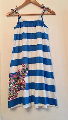 Mini Boden Cotton Jersey Striped Dress- Appliqué Butterfly.New No Tag.11-12 YRS