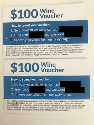Wine Voucher $100 x2 for use at nakedwines.com.au