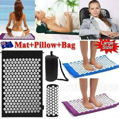 Massage Acupressure Mat with Pillow+Bag Yoga Kits Sit Lying Mats Cut Pain Stress