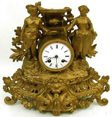 Antique JAPY FRERES Michelant Paris Bronze Striking Figural Mantel Clock 1855