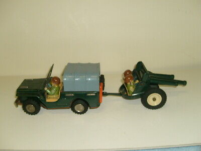 Vintage Friction Army Jeep And Artillery Trailer Mint Condition