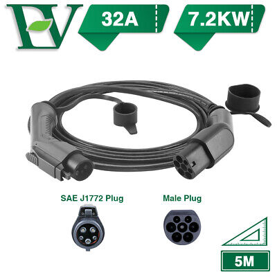 Morec EV Charging Cable Electric Car Charger Type1 To Type 2 32A 7.2KW SAE J1772