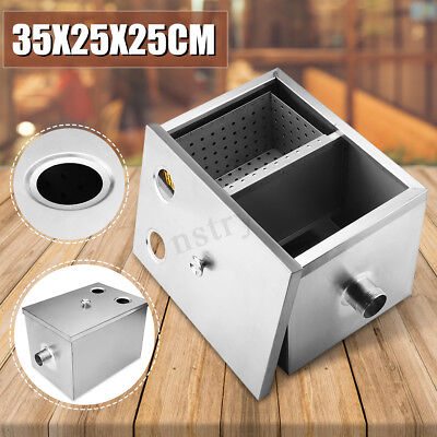 Commercial Kitchen Grease Trap Stainless Steel Interceptor Filter 35x25x25cm US