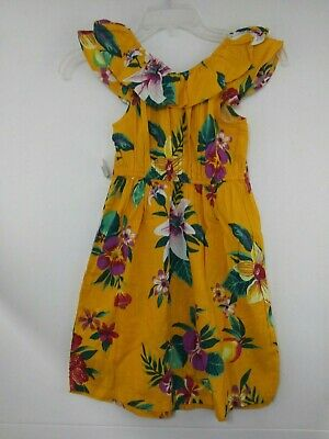 NWT OLD NAVY Fit & Flare Ruffle-Trim Dress for Girls M (8) Yellow Floral