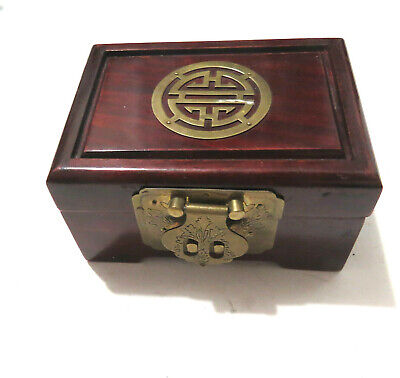 Vintage Chinese Rosewood Jewelry Box 4 x 5.5 x 3""