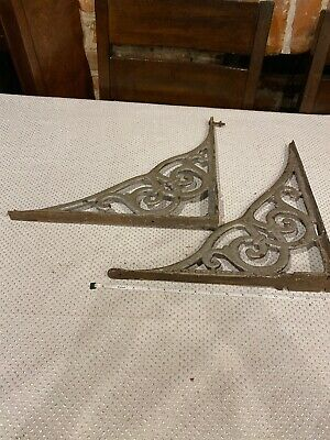 Vintage Molded Painted Wrought Iron Shelf Brackets  2 pcs