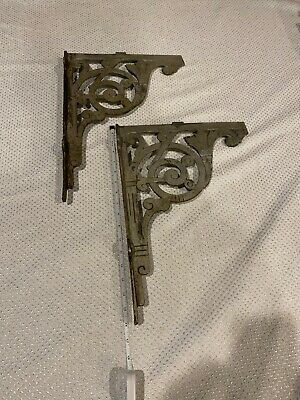 Vintage Molded Painted Wrought Iron Shelf Brackets  2 pcs Painted Silver