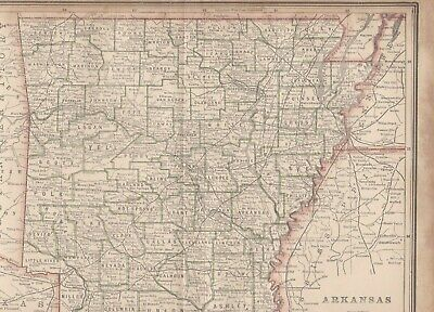 Map of ARKANSAS Plate Print Gaskell's Atlas of the World (1890-1899)