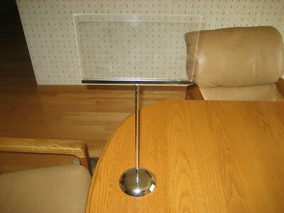 "Chrome Weighted Base Tabletop Open Sign Holder 37"" Tall Holds 11"" X 7"" Sign"