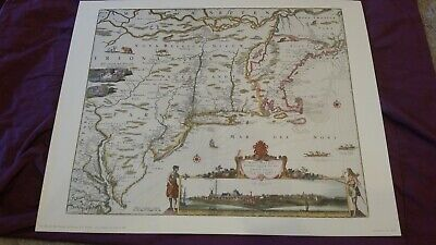 New Belgium New England Virginia N. Visscher prior 1682 Penn Prints reproduction