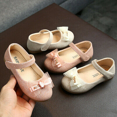Toddler Infant Kids Girl Lace Butterfly-Knot Bling Princess Leather Shoes AU