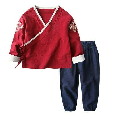 Kids Costume Boys Girls Chinese Outfit Cotton Linen Tang Suit Ethnic Set New