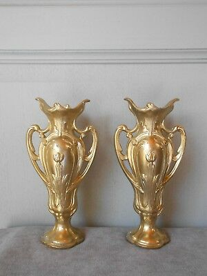 1950s Pair Antique french gilted spelter  VASES PLANTERS