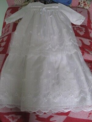 baby christening gown white vintage harringtons 1960s 6 to 12 months 28in long