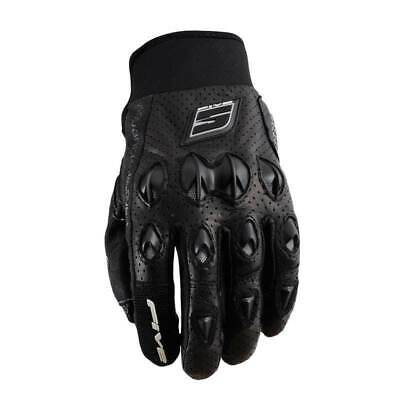 Five Stunt Leather Black Motorcycle Bike Gloves Knuckle Guard Size L Only