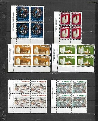 pk47330:Stamps-Canada Lot of 6 Assorted Christmas Lower Left Plate Blocks-MNH