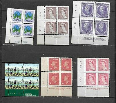 pk47344:Stamps-Canada Lot of 6 Assorted Definitive Lower Left Plate Blocks-MNH