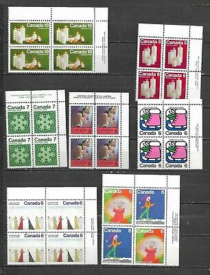 pk47296:Stamps-Canada Lot of 7 Assorted Christmas Upper Right Plate Blocks - MNH