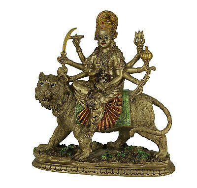 Zeckos Durga Supreme Hindu Goddess Riding On Tiger Statue