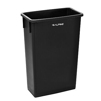 Alpine Industries 23 Gallon Black Slim Waste Basket Commercial Trash Can